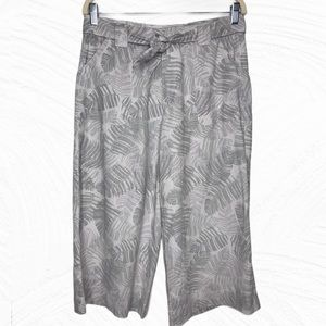 Democracy Stone (Gray) Leaves Linen Gaucho Pants